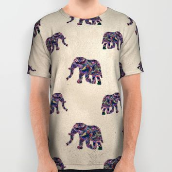 Painted Elephant - Abstract Digital Animal Painting All Over Print Shirt by Ryan Livingston