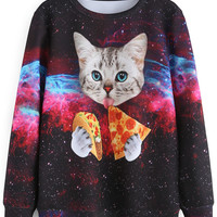 Galaxy Cat Printed Sweatshirt
