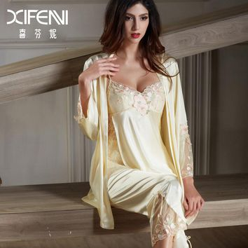 XIFENNI Imitation Silk Pajamas Female Satin Silk Pyjama Sets Long-Sleeved Embroidery Sleepwear Lace Pajama Set 6632