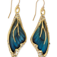 Pave Crystal Butterfly Wing Earrings, Azure