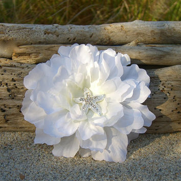 Beach Wedding Starfish Floral Hair Fascinator-SIMPLY WHITE-Starfish Hair Clip, Bridal Hair Flower, Destination Wedding Hair, Weddings, Ocean