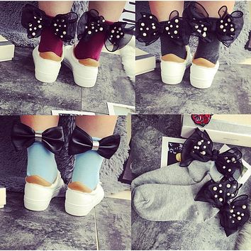 13color 2017 new cotton heel ribbon pearl big bow cotton socks Europe and the United States burst simple simple wild retro socks