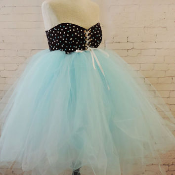 Adult tutu dress, brown blue white polka dot tutu dress, baby doll style sweet 16 party dress, prom dress, 80s retro dress, bridal wedding