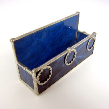 Midnight Blue Handmade Stained Glass Lock Washer Business Card Holder for Men - Handmade