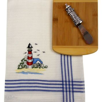 Lighthouse Cheese Spreader Kitchen Towel Bamboo Cheese Board Knife Seagull Set 3