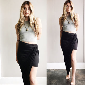 A Tulip Wrap Skirt in Black