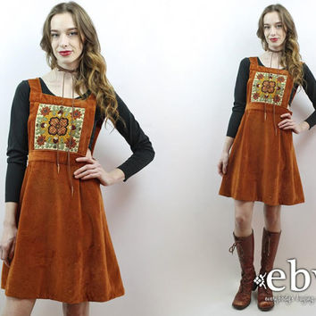 70s Dress Velvet Jumper Hippie Dress Velvet Dress 1970s Dress Hippy Dress Rust Brown Dress Vintage 70s Rust Velvet Mini Dress Pinafore M