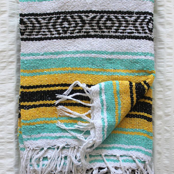 Mexican Blanket Mint Sea foam and Yellow Beach Blanket Vintage Style