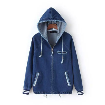 Blue Denim Embroidered Hoodie Zippered Jacket