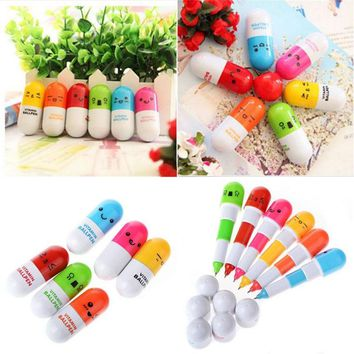 6X Cute Face Pill Ball Point Pen Telescopic Vitamin Capsule Ballpen Stationery