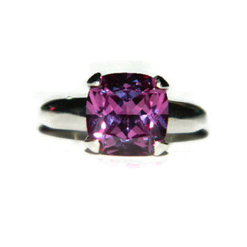 Alexandrite Ring, 10MM Cushion Cut Stone, Proposal Ring, Anniversary Ring
