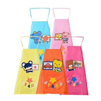 Baby Bibs Waterproof Infant Kids Cartoon Print Art Smock Waterproof Self-feeding Bib Apron Scarf  Accessories