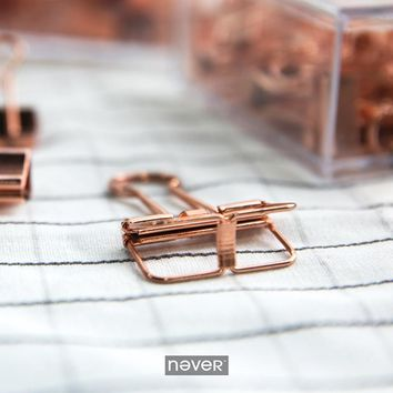 Never Rose Gold Paper Clip Office Accessories Metal Clips Binder Klips Pink Clip Korean Stationery Business Gift School Supplies