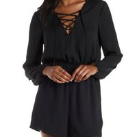Black Lace-Up Long Sleeve Romper by Charlotte Russe