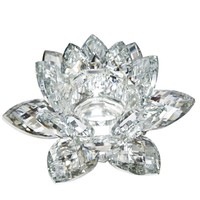 Clear Crystal Lotus Flower Candle Holder, Silver By SageBrook Home