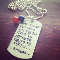 Hand Stamped War Eagle Fight Song Necklace