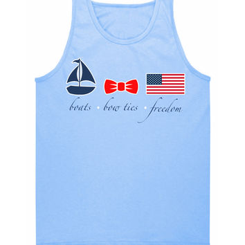 'Boats, Bow Ties & Freedom' Tank Top