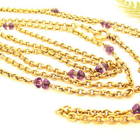Amazing Antique Long Necklace Guard Chain, Solid 14K Gold, Amethyst and Rock Crystal Beads, 67 Inches, 34.65 grams, with Matching Bracelet