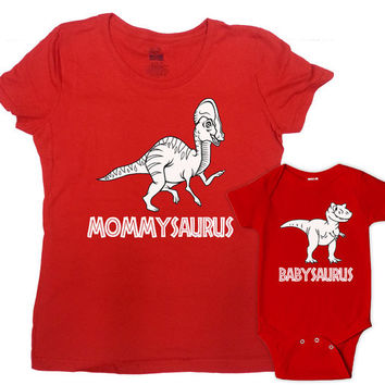 Mommy and Daughter Outfits Mother Son Matching Shirts Mommy And Me Clothing Mom And Baby Shirts Mommysaurus Babysaurus Bodysuit - SA266-636