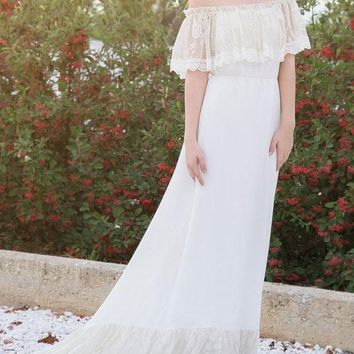 New White Patchwork Lace Off Shoulder Pleated With Train Elegant Prom Evening Party Maxi Dress