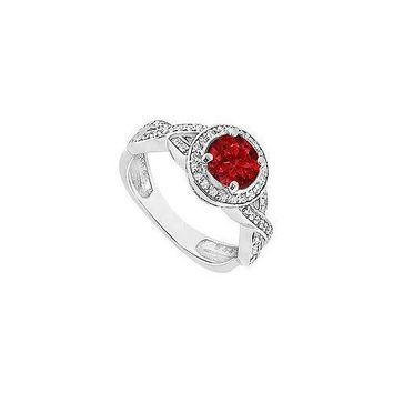 Ruby and Diamond Halo Engagement Ring : 14K White Gold - 1.40 CT TGW