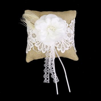 Vintage Burlap and Lace Flower w/Peacock Feathers Wedding Ring Pillow Bearer (6x6 inches)