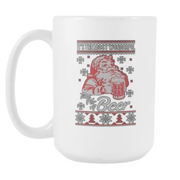 It's The Most Wonderful Time For A Beer Funny Ugly Christmas Sweater White 15oz Coffee Mug