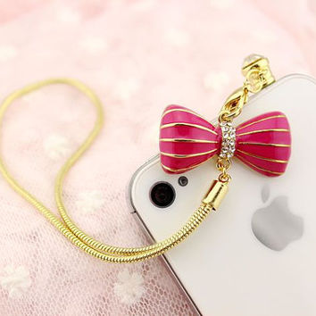 Cute Bling bow knot dust anti-dust plug for iPhone 4, iPhone 4s, iPhone 5 any  3.5mm earphone plug