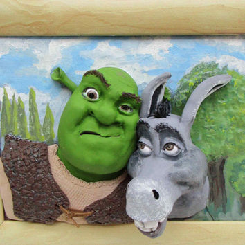 Shrek and Donkey, Funny 3d wall art, polymer clay picture, handmade
