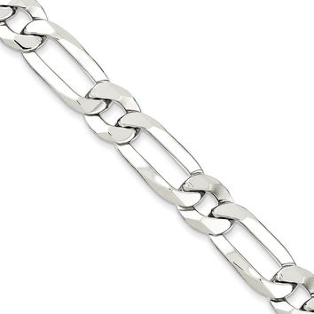 Men's 10mm Sterling Silver Open Modified Figaro Chain Necklace