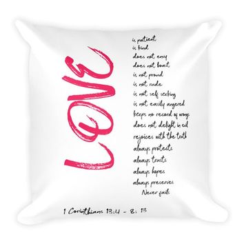 Love Quote Pillow Corinthians Bible Verse  Throw Pillow 18 X 18 Filled Boho Chic Decor
