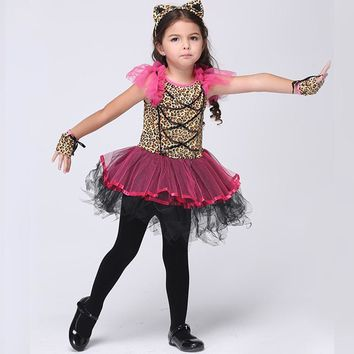 Cute Girls Pink Leopard Catwoman Costume Kids Comic Cat Dress Halloween Chirstmas Children Day Comic Animal Role Play Plus Size