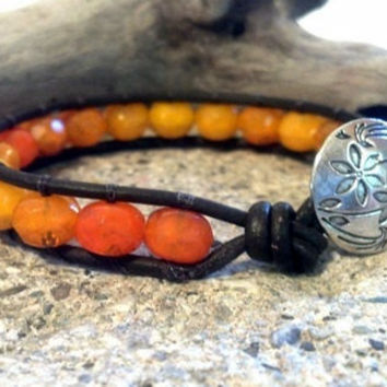Leather Wrap Bracelet, Orange Sunset, Chan Luu, Friendship Bracelet, PZW026