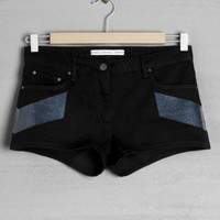 Denim Shorts w/ Print | Black | & Other Stories