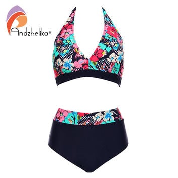 Andzhelika Bikins Women 2017 New Plus Size Swimwear Print Floral High Waisted Bathing Suits Swim Halter bikinis Set Biquini