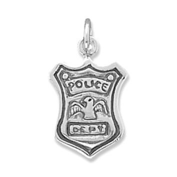 Sterling Silver Antiqued Police Shield Charm