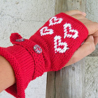 Hand Knit Fingerless Gloves with Hearts - Knitted red and white Love Mittens