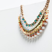 Multicoloured chain and bead necklace