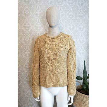 Vintage Cableknit  Woven Silk Sweater