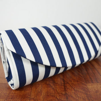 Wide blue and white striped nautical clutch bag. Navy blue clutch, nautical wedding, Nautical bride