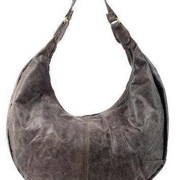 DISTRESSED ROUND LEATHER TOTE