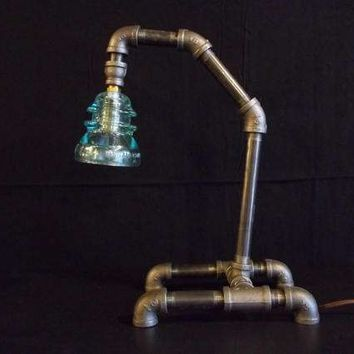 Industrial Style Desk Lamp made with Black Iron Pipe and Vintage Blue Insulator