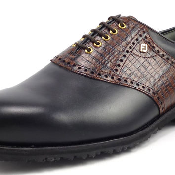 Footjoy Classic Dry New Mens Golf Shoes 10 EEE Spikeless Saddle Style 55650 Black / Brown