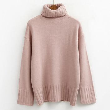 autumn 2017 pullover women sweaters and pullovers winter turtleneck korean pink cute retro knitting ugly christmas sweater women