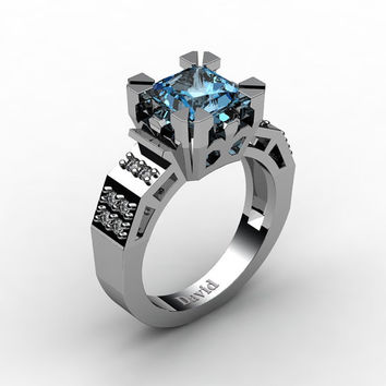 Modern Vintage 14K White Gold 2.0 Carat Princess Blue Topaz Diamond Solitaire Ring R1023-14KWGDBT
