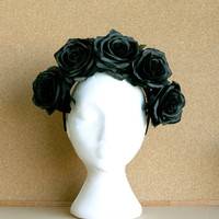 Black Rose Black Headband Flower Crown