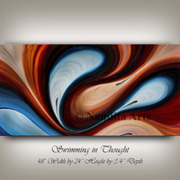 Large Wall Art Abstract Oil Painting on Canvas, Wall Decor Wave Style Dark Brown, Blue Handmade Original Beautiful Artwork Nandita Albright