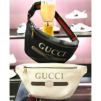 Gucci Fashion Male and Female Letter Printing Hot Selling Belt Zipper Waist bag Bag White