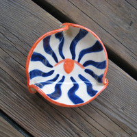 Small Shallow Bowl - Ceramics and Pottery - Ring Dish - Orange and Navy Blue - Pet Dish - Surreal Pop Art - Man Cave Decorations - Hand Made