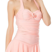 Pink Halter Sleeveless Skirt Swimwear